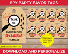 Load image into Gallery viewer, Spy Party Favor Tags