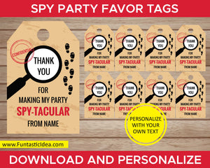 Spy Party Favor Tags