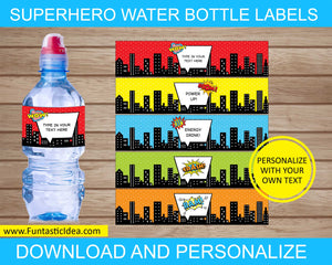 Superhero Party Water Bottle Labels