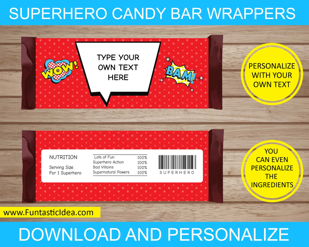 Superhero Party Candy Bar Wrappers