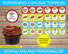 Load image into Gallery viewer, Superhero Party Cupcake Toppers