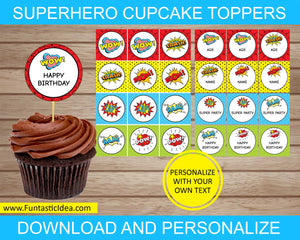 Superhero Party Cupcake Toppers