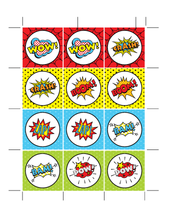 Load image into Gallery viewer, Superhero Party Cupcake Toppers Printable