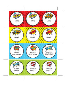 Superhero Party Cupcake Toppers Printable