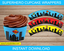 Load image into Gallery viewer, Superhero Party Cupcake Wrappers