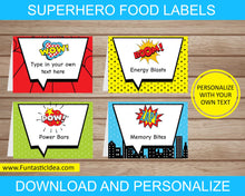 Load image into Gallery viewer, Superhero Party Food Labels