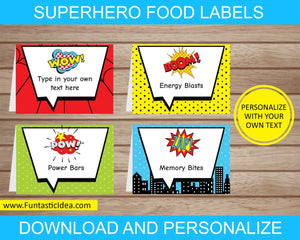 Superhero Party Food Labels