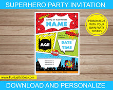 Load image into Gallery viewer, Superhero Party Invitation