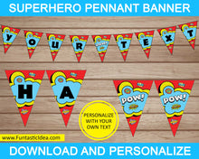 Load image into Gallery viewer, Superhero Party Pennant Banner