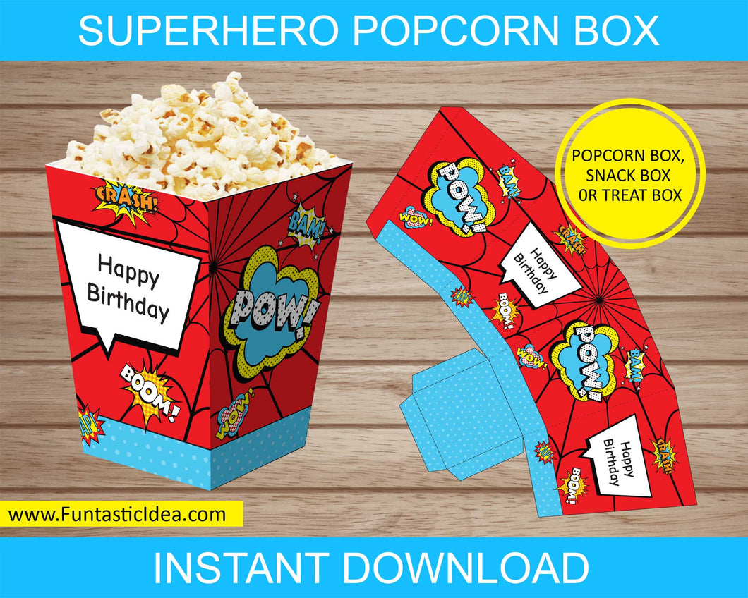 Superhero Party Popcorn Box