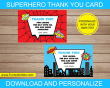 Load image into Gallery viewer, Superhero Party Thank You Cards