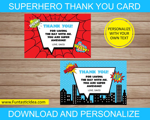 Superhero Party Thank You Cards