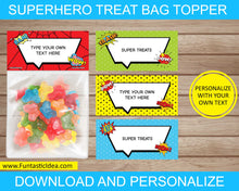 Load image into Gallery viewer, Superhero Party Treat Bag Toppers
