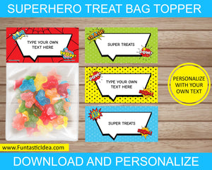 Superhero Party Treat Bag Toppers