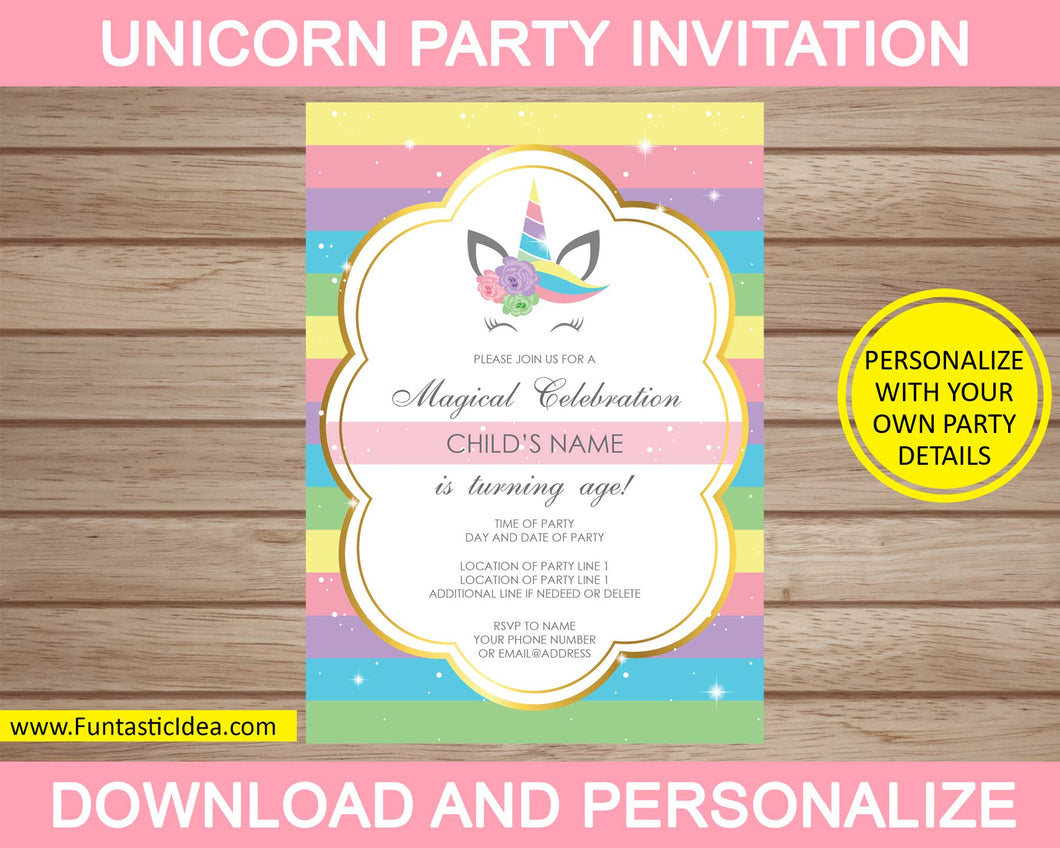 Unicorn Party Invitation