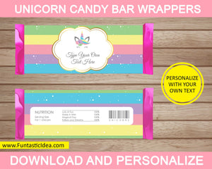 Unicorn Party Candy Bar Wrapper