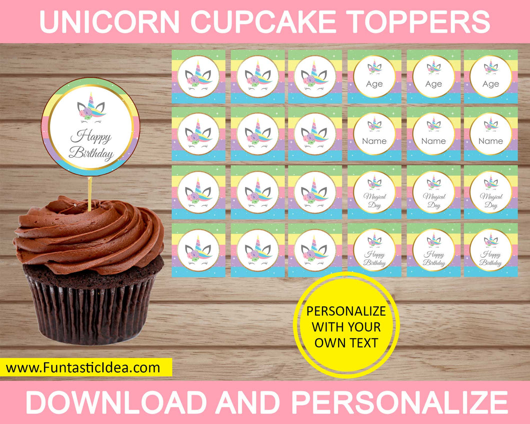 Unicorn Party Cupcake Toppers