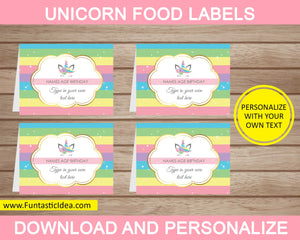 Unicorn Party Food Labels