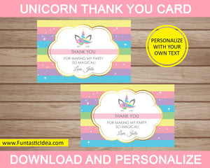 Unicorn Party Thank You Card