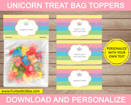 Unicorn Party Treat Bag Toppers