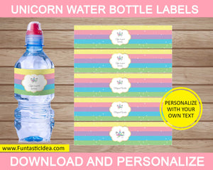 Unicorn Party Water Bottle Labels