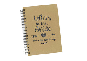 Personalised glitter print Letters to the Bride hen party keepsake a5 notebook