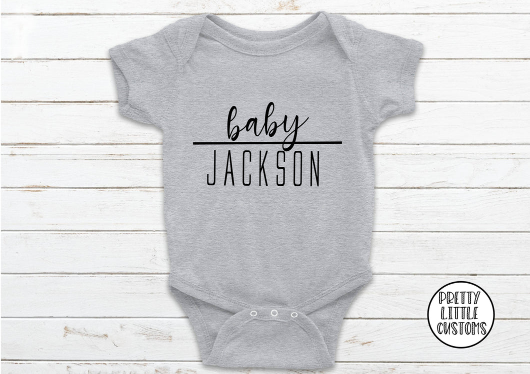 Personalised baby (your surname) baby vest - grey