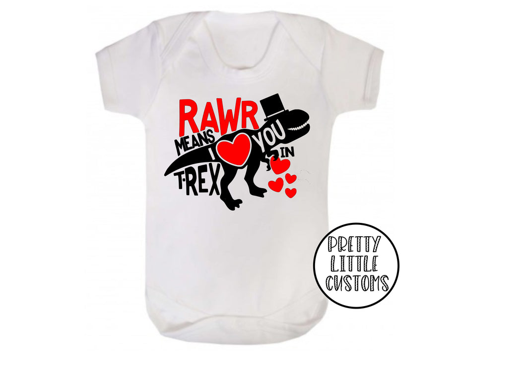 Rawr means I love you in T-Rex print baby vest