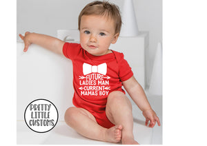 Future ladies man, current Mamas boy print baby vest