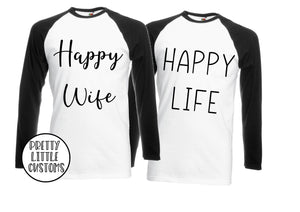 Happy Wife, Happy Life print raglan baseball tee couple set