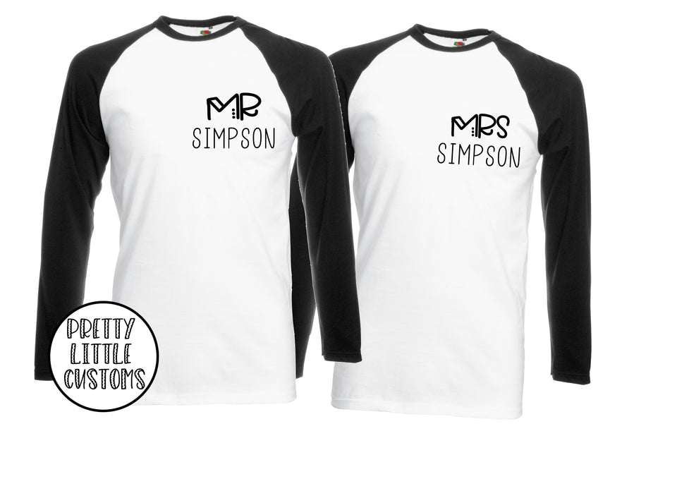 Personalised Mr & Mrs (your surname) print raglan baseball tee couple set