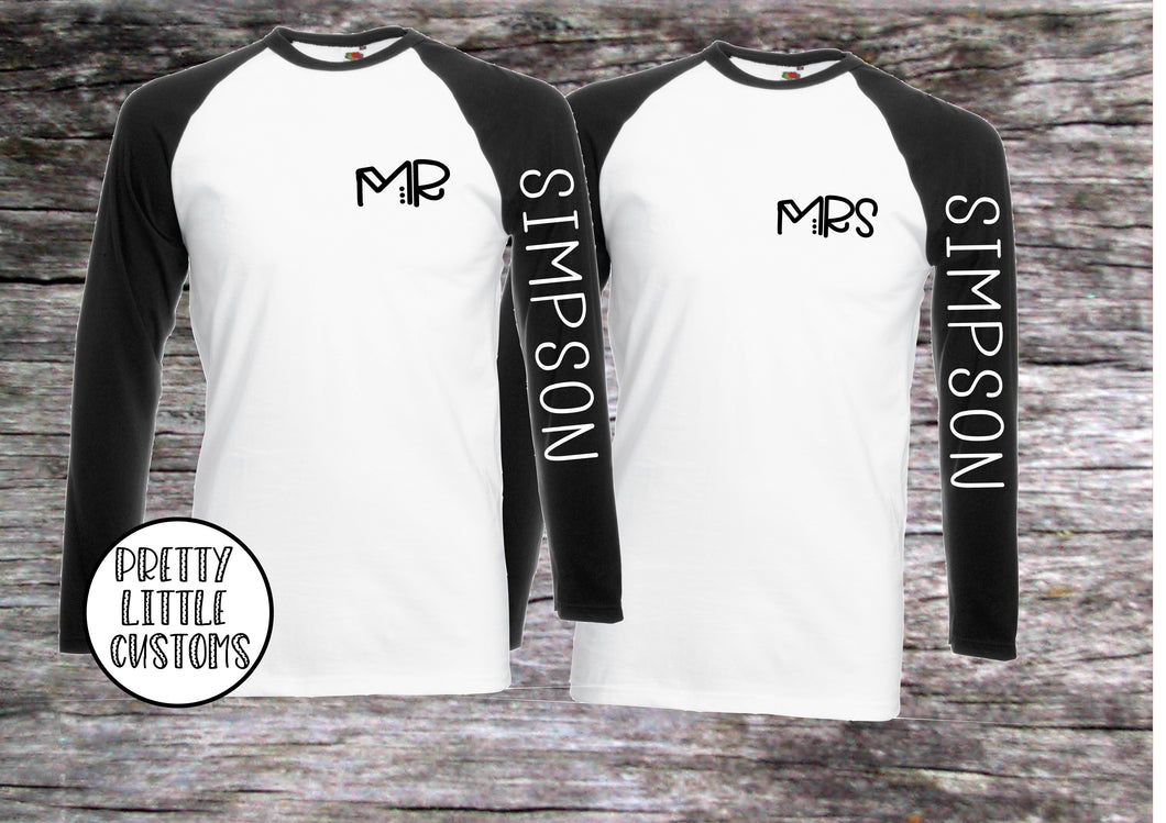 Personalised Mr & Mrs (your surname) print raglan baseball tee couple set - sleeve print