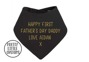 Personalised Happy First Father's Day print bandana bib - black/yellow