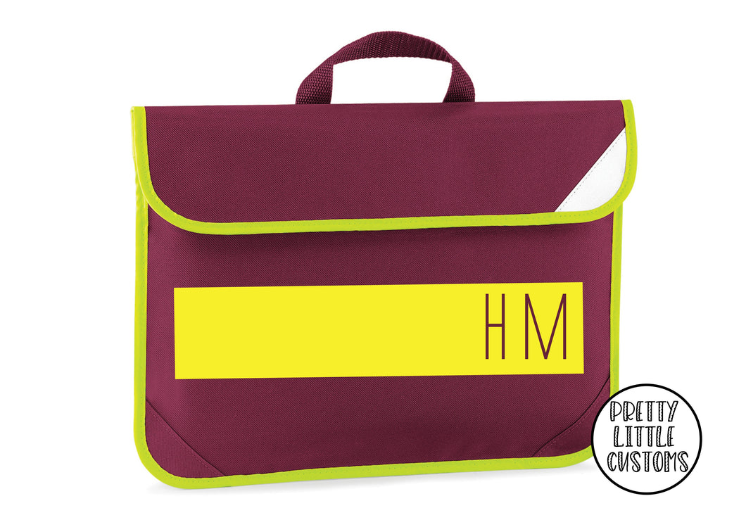 Personalised kids initials, block design book/homework bag - burgundy
