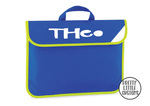 Personalised kids name book/homework bag - royal blue