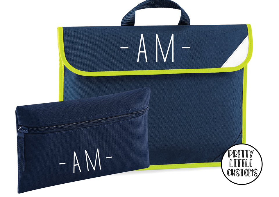 Personalised kids initials book bag & pencil case set- french navy