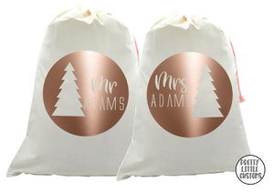 Personalised Christmas Santa Sack Couples Set - Mr & Mrs/Mr & Mr/ Mrs & mrs (your name) - circle, tree print