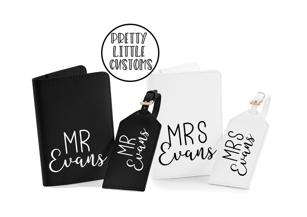 Personalised Mr and Mrs (your name) honeymoon couples luggage set - luggage tags & passport holders