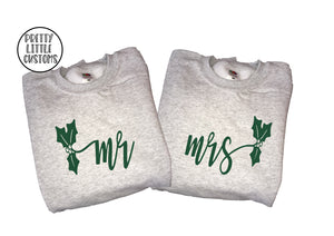 Mr & Mrs holly design print Christmas sweater set