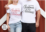 Personalised, First Christmas as Mr & Mrs, Your Surname couple tee set