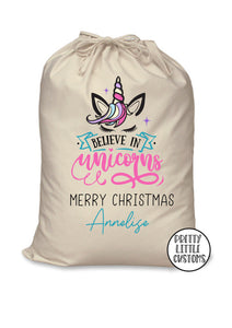 Personalised Christmas Santa Sack - Believe in Unicorns design