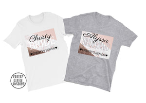 Personalised name & role hen party tees - pink/grey marble