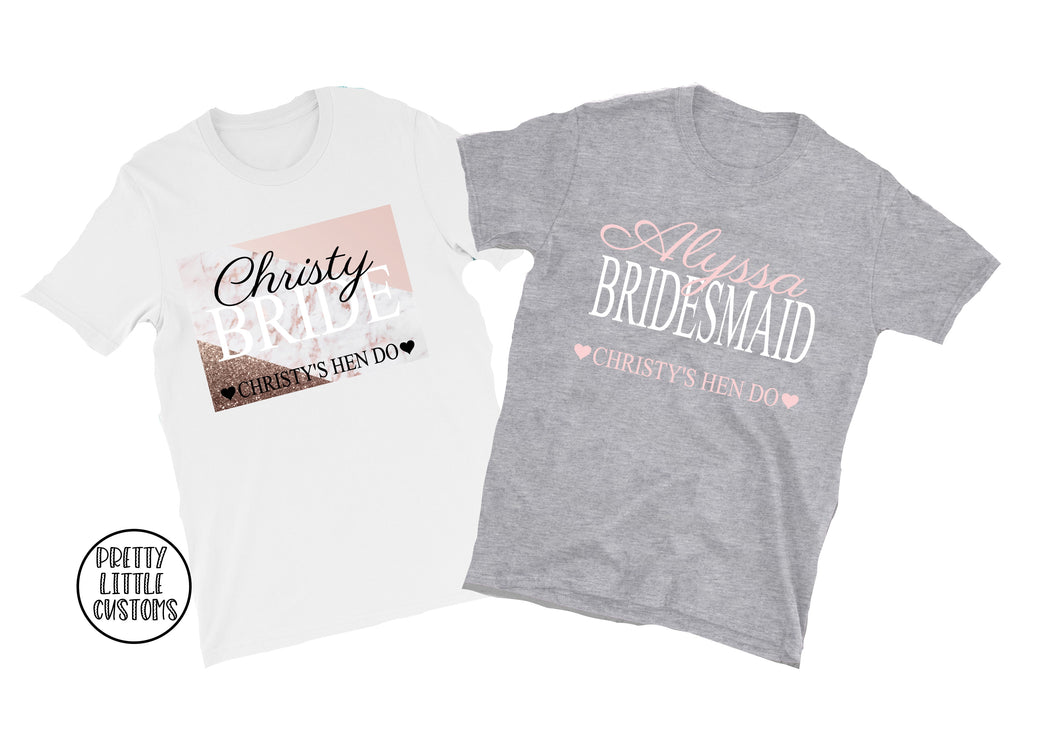 Personalised name & role hen party tees - pink/grey