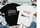 Personalised name & role hen party tees - pink/black marble