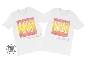 Personalised role Bride's name hen 2.0 party tees - pink, yellow ombre glitter print