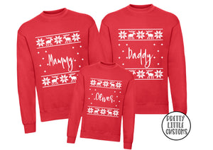 Personalised matching family Christmas  sweaters - your name - reindeer sweater design