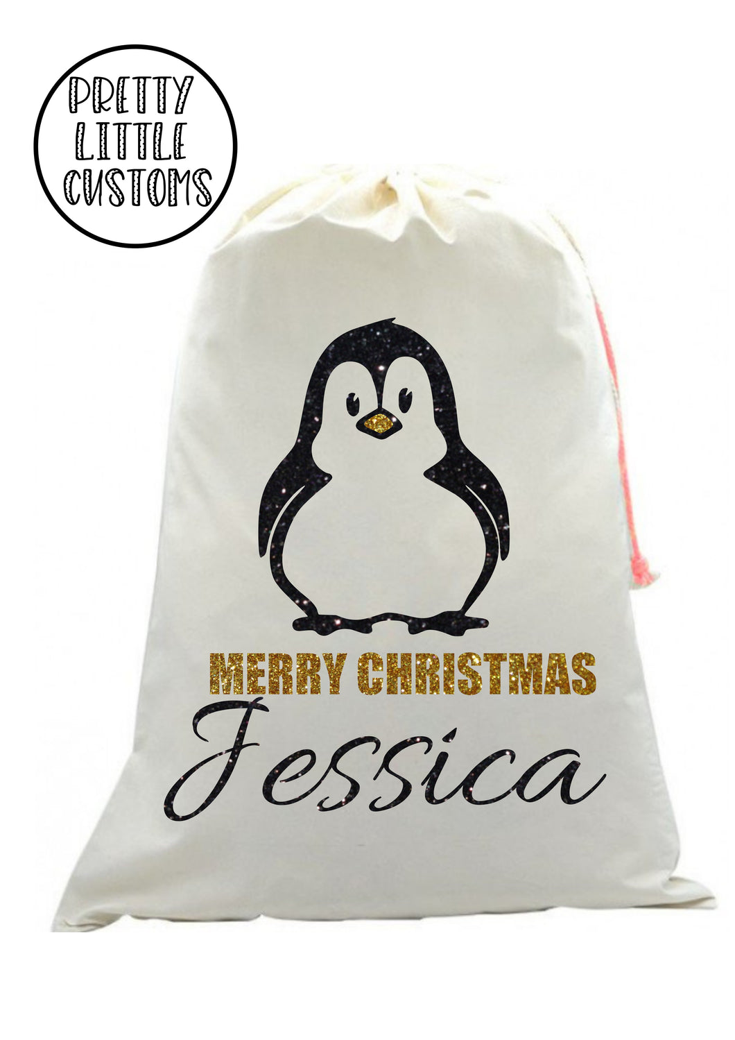 Personalised Christmas Santa Sack- Glitter Penguin