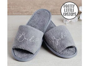 Grey Bridal party heart print slippers - Bride