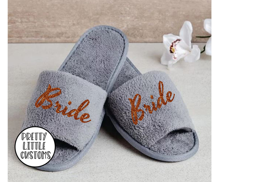 Grey Personalised bridal party glitter print slippers - Bride - Style 2