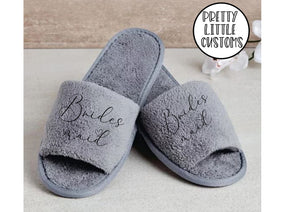 Grey  Bridal party heart print slippers - Bridesmaid